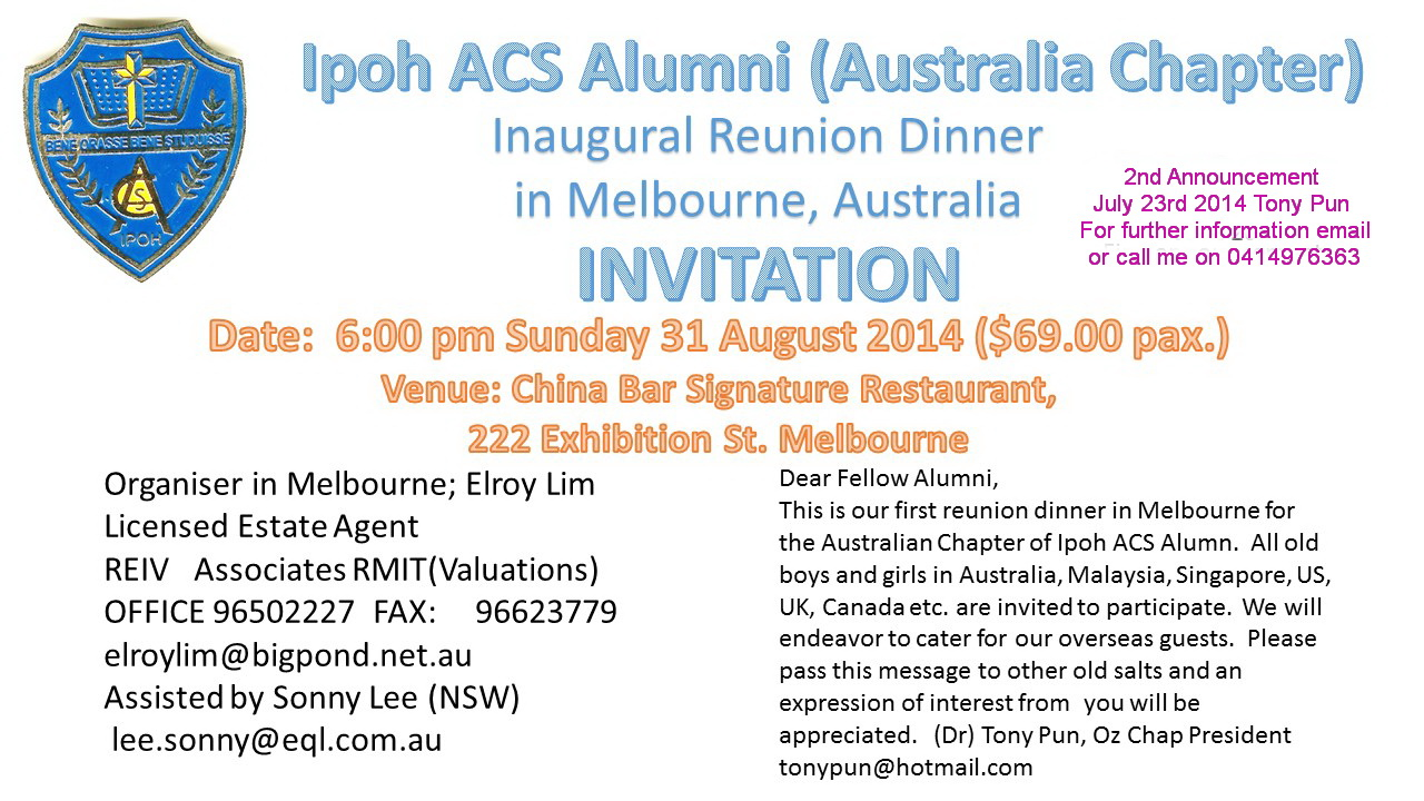 Oz Chapter Dinner 31 Aug 2014
